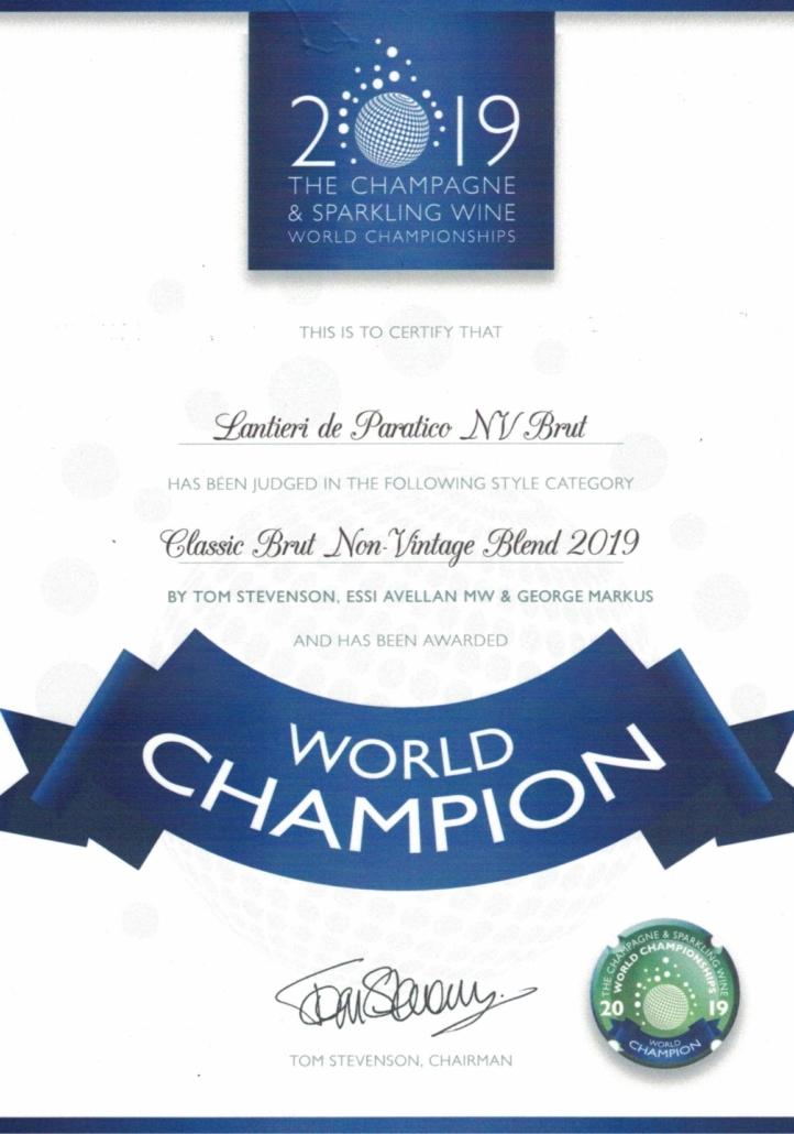 titolo di World Champion per il